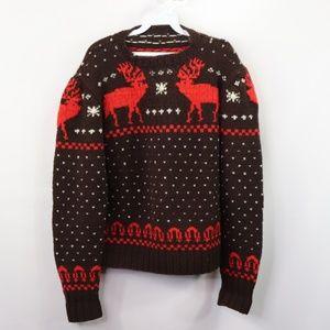 Vintage Reindeer Print Cowichan Hand Knit Sweater